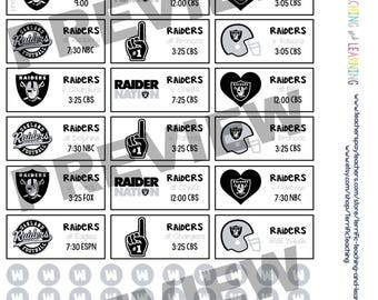 Oakland Raiders 2017-2018 Season Schedule Stickers for Create 365 Big Happy Planner by MAMBI { INSTANT DOWNLOAD}