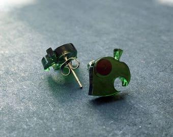 Animal Crossing Stud Earrings, Leaf symbol (acrylic, laser-cut)