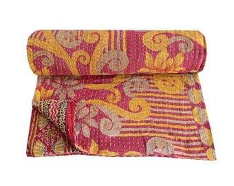 Handmade Cotton Kantha Quilt Queen Size Vintage Indian Sari Kantha Blanket Floral Print Kantha Bedspread Kantha Bedding Throw
