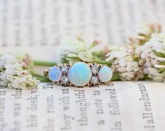 Antique Opal Ring - 18k Gold Opal & Diamond Victorian Ring, Antique Ring, Opal Diamond Ring, Antique Jewelry, Victorian Opal Engagement 6.5