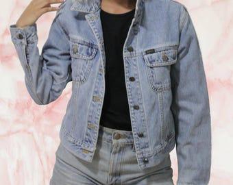 Vintage 90s Lees XS Denim Jacket / Vintage Lees Small Jean Jacket Form Fitting ? Lightwash light washed denim vtg jacket levis wrangler