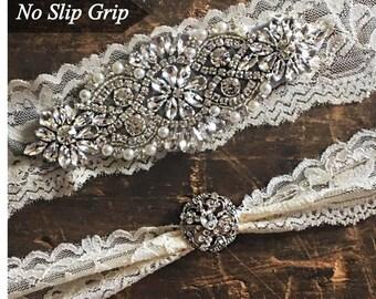Wedding Garter Set NO SLIP grip rhinestones, bridal garter set, garter