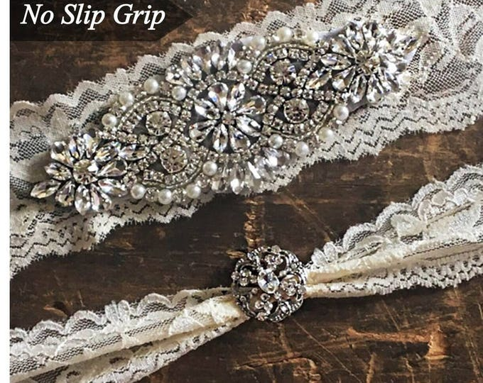 Wedding Garter Set NO SLIP grip rhinestones, bridal garter set, garter