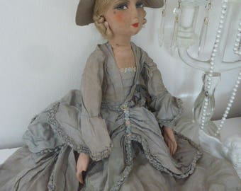 Antique French Boudoir Doll rococo Baronesse Sofapuppe doll Edwardian style Titanic style decoration CoeursDeCaschel