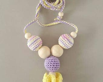 Nursing necklace Teething necklace Crochet jewellery for new mum Sling accessory Breastfeeding necklace Shower gift Baby toy