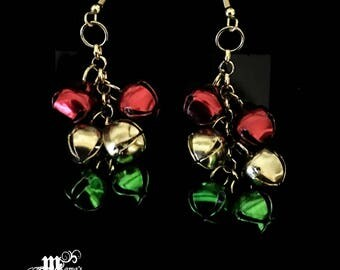 Jingle Bell Earrings, Christmas, Festive, Red, Gold, Green, 14Kt Gold Plated, Fish Hook Ear Wires, Jingle-Jangle-Jingle, Gifts, Pierced Ears