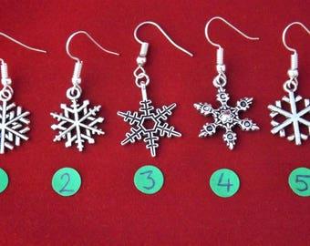 Christmas snowflake earrings, festive frozen novelty earrings, stocking filler gifts, sterling silver winter earrings, snowflake jewellery