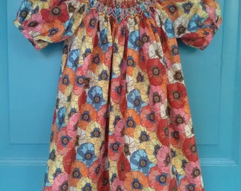Handsmocked floral print dress size 3