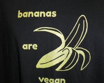 Vegan Banana T-shirt, Hand Screen Printed Fruit Shirt