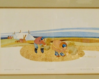 Rie Munoz print-Gathering Grass, 1981--446/500--Rare!