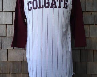 80s vintage Colgate University pinstripe raglan 3/4 sleeve T shirt - Medium - Colgate Raiders