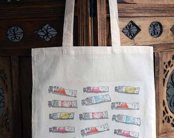 Paint Tubes Tote Bag, Cotton Market Bag, Hand Printed