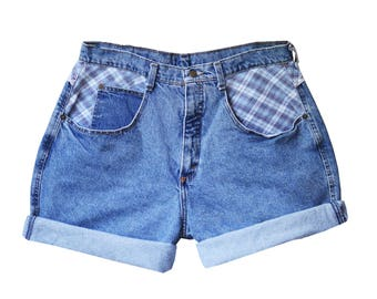 Flannel High Waisted Denim Shorts