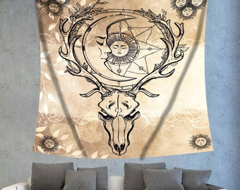 Indian tapestry,Mandala tapestry.Boho indie decor,Bohemian wall decor,Boho hippie decor,Hippie tapestry,Animal tapestry,Skull tapestry
