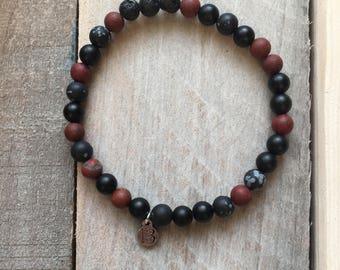 Black Onyx + Lava + Snowflake Obsidian + Poppy Jasper Diffuser Mala Bracelet