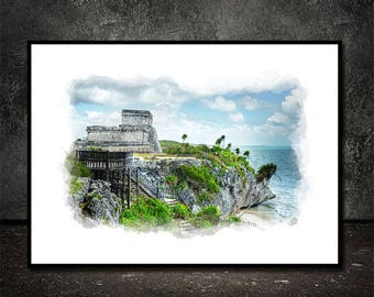 Tulum,Mexico,Watercolor,Instant Download,Wall Art                    Wall Decor, Printable Art,Canvas Print,Tulum Posters,Cancun,Restaurant