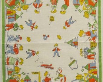 Simple Simon Childs nursery rhyme hankie  1950's