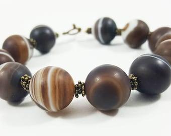 Botswana agate bracelet,Agate bracelet,Bracelet for her,14mm beads bracelet,Boho bracelet,Bohemian bracelet,Yoga bracelet,Mala bead bracelet