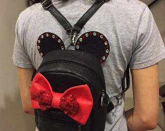 Mickey inspired back pack, mini backpack, mickey ear mini back pack, disneyland backpack, minnie back pack, mickey ears