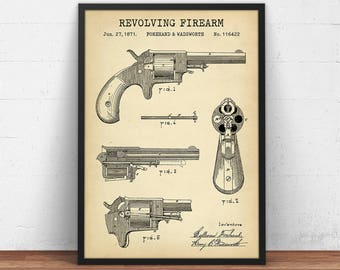 Gun Patent Print, Forehand & Wadsworth Revolver, Vintage Gun Blueprint Art, Digital Download Arms Decor, Gun Enthusiast Gift Firearm Poster