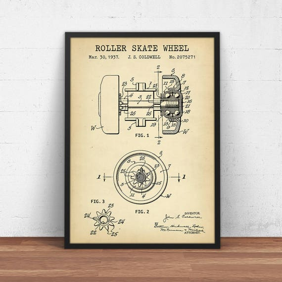 Roller skate wheel blueprint digital download patent prints te gusta este artculo malvernweather Choice Image