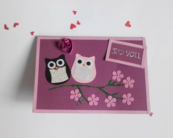 fun love cards, love cards handmade, owl love card, All you need is love, valentines card handmade , romantic cards, cute valentine cards