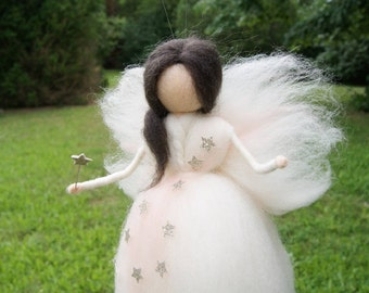Wool Needle felted fairy Waldorf Felted Doll  Christmas favor Nursery Decor
