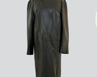Vintage leather Coat // Black women's leather coat // 80s