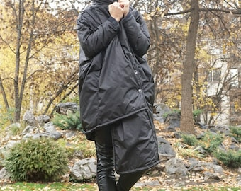 Maxi Waterproof Windproof Wool Coat, Double sided Hooded Parka, Cocoon Winter Parka, Asymmetrical Extravagant Oversized Coat Parka