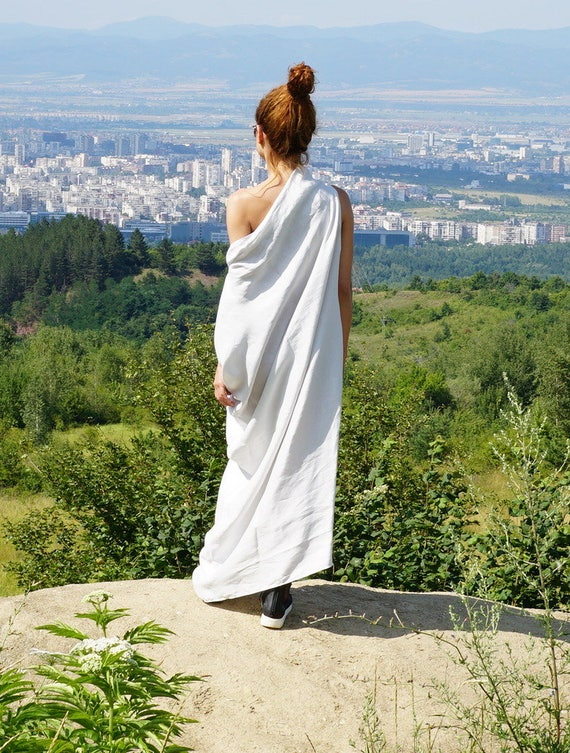 Linen Maxi Abaya Dress, Kaftan Dress, White Summer Extra Long Dress, Loose Oversized Dress, Off Shoulder Gown Dress