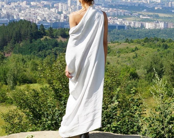 Linen Maxi Abaya Dress, Kaftan Dress, White Summer Extra Long Dress, Loose Oversized Dress, Off Shoulder Gown Dress