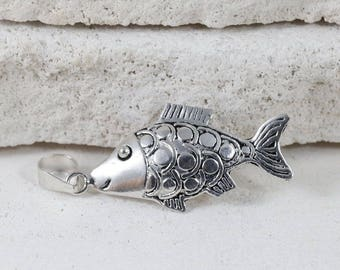 Sterling Silver Detailed Fish Necklace Pendant