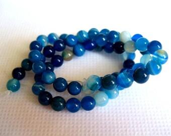 6mm Blue Stripe Agate Beads