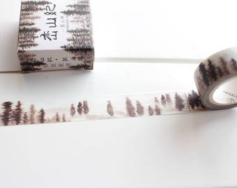 Forest Trees Washi Tape, Black Watercolour Tape, Misty Moutain Forest Stickers,  Planner Tape (NT-164)