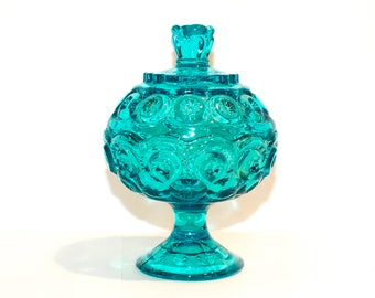 Teal Aquamarine Mint Glass Candy Dish, Footed Candy Dish by BigMuddyVintageShop