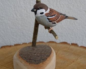 Eurasian tree Sparrow - Passer montanus - wood carved bird song