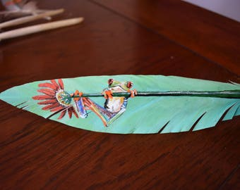 Tree frog in acrylic on Goose Feather