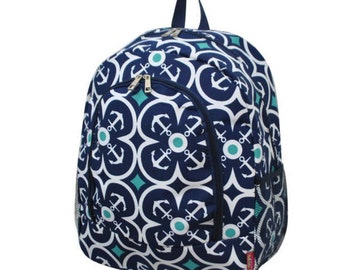 Monogrammed Girls Backpack, Anchor Backpack, ,Anchor Flower, Back to School Backpack, Girl Monogrammed Backpack, Navy Backpack, School Bag