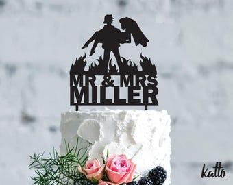 Fireman wedding cake topper- Customizable Wedding Cake Topper- Personalized Firefighter cake topper- Wedding Cake Topper