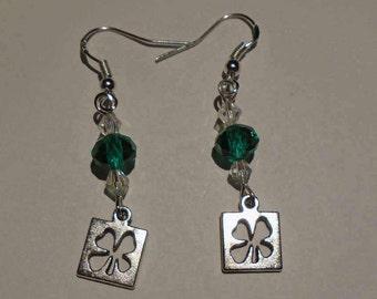 Green & Silver 4 Leaf Clover Earrings