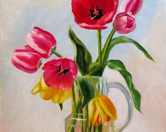 Tulips oil original painting red and yellow tulips vase flower painting 11x14