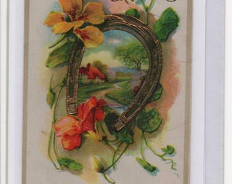 Handmade Blank Greetings Card, Upcycled Vintage Postcard,Birthday Greetings,Horseshoe,Flowers,Cottage,c1910