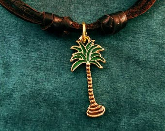 Palm Tree Necklace SMALL Palm Tree Charm Beach Jewelry Surfer Gift Leather Necklace Brown Cord Necklace Men's Jewelry Boyfriend Necklace