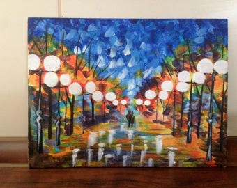 Small acrylic art painting - lights at night