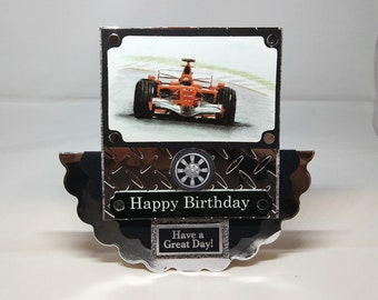 Formula One/F1 Motor Racing 3D Wobbler Male Birthday Card - luxury quality UK - Dad/Son/Brother/Uncle/Nephew
