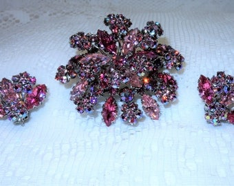 Beautiful Unsigned Schriner Pink Prong Set Rhinestone Brooch and Earrings Set in Silver Plated Metal
