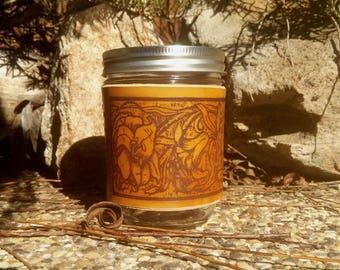 Lilly (Leather Mason Jar Sleeve) - handmade leather sleeve - Hand Crafted, leather mason jar wrap, Lilly blooms, Flowers, floral arrangement