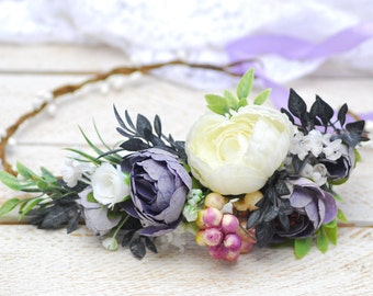 White Purple lilac flower crown Flower headband Wedding halo Bridal headpiece Wedding floral halo Girl hair wreath Flower girl bridesmaide