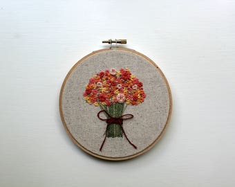 Custom Floral Bouquet Embroidery Wall Art
