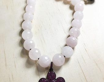 Rose Quartz Necklace, Rose Quartz Jewelry, Necklaces for Women, Easter Necklace, Daisy Charm Necklace, Beaded Rose Quartz Necklace